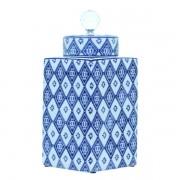 Pote De Porcelana Quadrado Com Tampa Azul Oldway 31x14x14cm