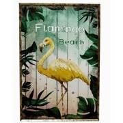Quadro Com Moldura Folhas Flamingo Amarelo