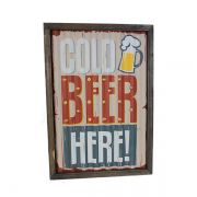 Quadro Em Metal Com Led Cold Beer Here Oldway  43x30x4cm