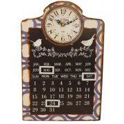 Relógio com Calendário Blue Birds Oldway 38x25x4cm