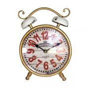 Relógio de mesa Clássico Dourado com Branco Oldway 23x16x5cm
