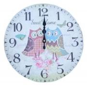 Relógio De Parede Corujas Sweet Home