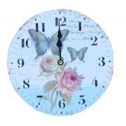 Relógio De Parede Flores E Borboletas