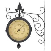 Relógio e Termômetro Jardim Externo Estação 33x26x24cm