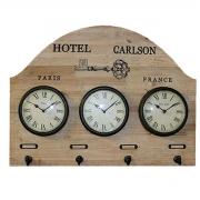 Relógio Mundial 3 Fuso Horários Porta Chaves 41x55x3cm