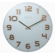 Relógio Parede Classy Round White Copper Nextime D=30cm