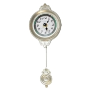 Relógio Parede Mini Metálico Com Pêndulo Retrô 30x10x4cm