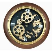 Relógio Parede Pu Marrom Fundo Preto