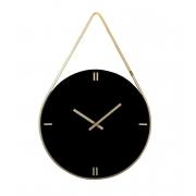 Relógio Preto Laca Alça Dourada