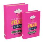S/2 Livro Caixa Felicidade 30x20x7cm