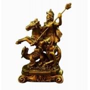 São Jorge Guerreiro Imagem Santo Estátua Dourada Resina 11cm