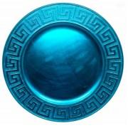Sousplat Redondo Na Cor Azul Metálico