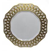 Sousplat Redondo Branco Detalhe Dourado 33cm - 420