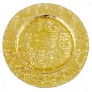 Sousplat Redondo Dourado Com Flores 33cm - 320