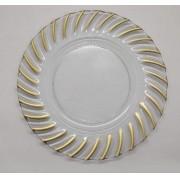Sousplat Redondo Requinte Cristal Com Dourado 33cm - 1161
