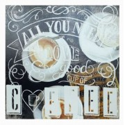 Tela Impressa All U Need Is Love Coffee Fullway 60x60x4cm