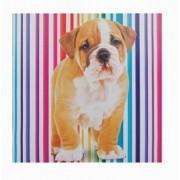 Tela Impressa Cachorro Fundo Listras Fullway 60x60x3cm