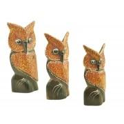 Escultura Enfeite Trio Corujas Mod F Madeira de Bali Imp