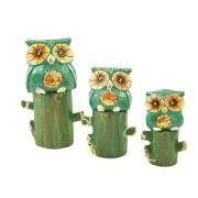 Escultura Enfeite Trio Corujas Vd No Tronco Madeira de Bali Imp