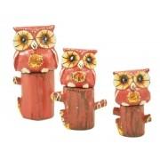 Escultura Enfeite Trio Corujas Vm No Tronco Madeira de Bali Imp