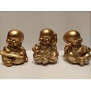 Escultura Enfeite Trio De Budas Dourado