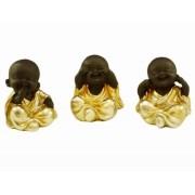 Trio de Budas Dourado
