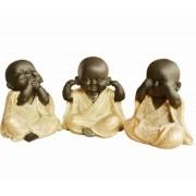 Escultura Enfeite Trio De Budas Não Vejo, Não Ouço, Não Falo Importado