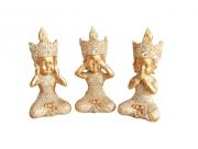 Trio De Estátuas Monge Buda Sábios Cego, Surdo E Mudo