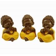 Escultura Enfeite Trio De Monges Importado
