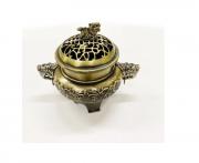 Turíbulo Defumador Incensario Metal Dourado Envelhecido Importado