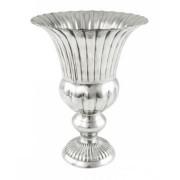 Vaso de Alumínio Prata Brilhante Frisos 20x27
