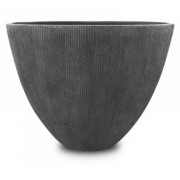 Vaso De Composto Mineral Cinza Oval 37x44x24cm