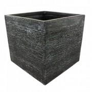 Vaso De Composto Mineral Grafite Quadrado 27x30cm