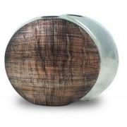 Vaso Decorativo Alumínio Prata Circulo 28x34x10cm