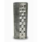 Vaso Decorativo Alumínio Prata Retangular 40x13x6cm