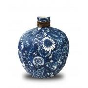 Vaso Decorativo Cerâmica Azul 20x17cm