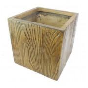 Vaso Decorativo Composto Mineral Amadeirado 40x40cm