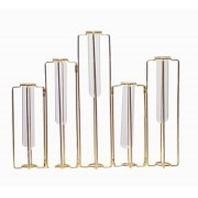 Vaso Vidro Aramado Articulado 5 Frascos Pequeno Dourado