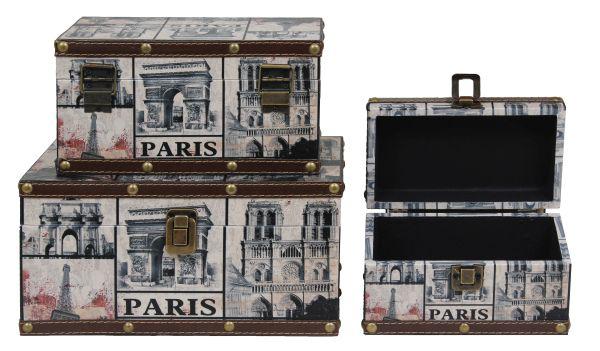 Conjunto De Baús Paris Envelhecido Retrô Vintage 28x18x14cm  - Arrivo Mobile