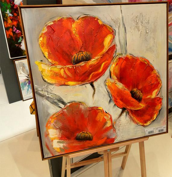 Quadro Pintura 3 Flores Vermelho Fullway 80x80x4cm  - Arrivo Mobile