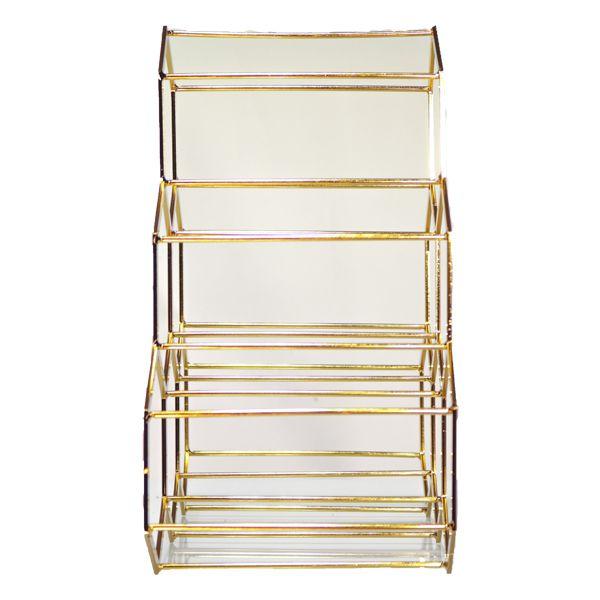 Adega Em Metal Dourada Para 6 Garrafas 34x34x17cm  - Arrivo Mobile