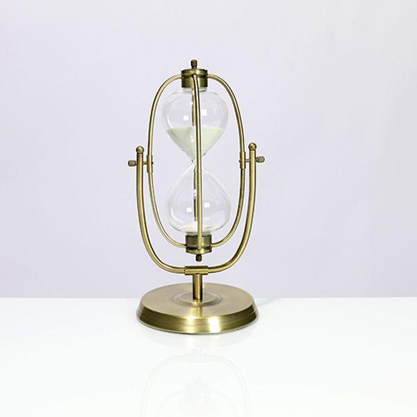 Ampulheta Oval Em Inox Com Globo De Vidro 31x16x11cm  - Arrivo Mobile