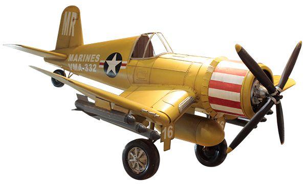 Avião Amarelo Navy Em Metal Oldway  - Arrivo Mobile