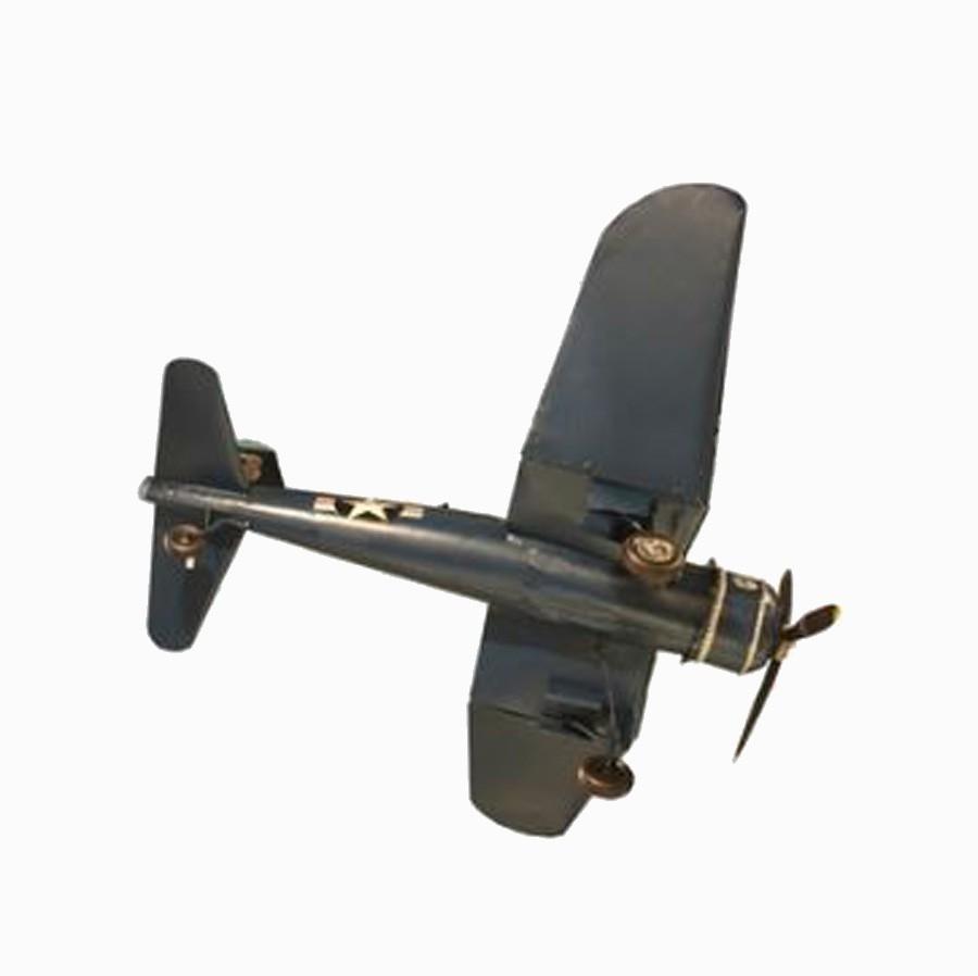 Aviao Azul Navy Top 310b Em Metal Oldway 40x130x110cm  - Arrivo Mobile