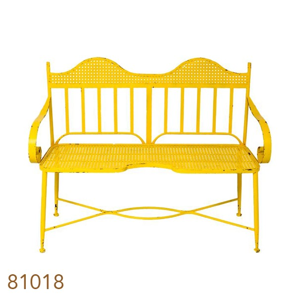 Banco De Jardim Amarelo Vintage Oldway -  Ferro  - Arrivo Mobile