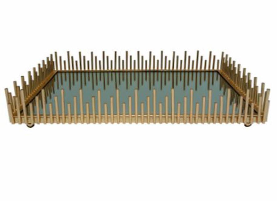 Bandeja Em Ferro Dourada 35x23x6cm  - Arrivo Mobile