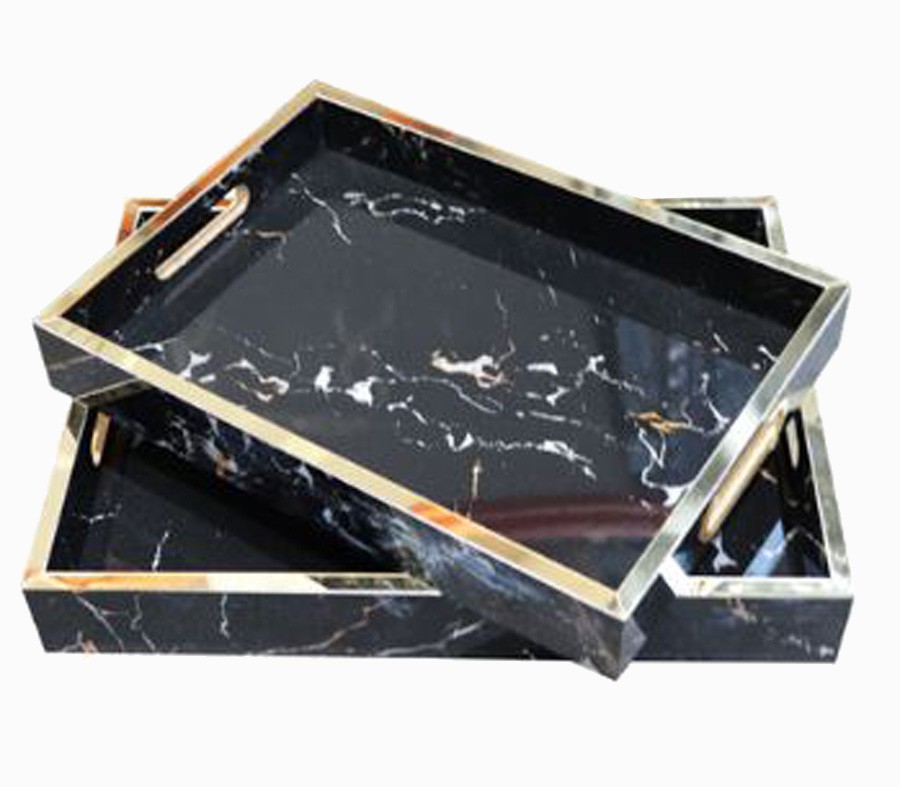 Bandeja Mdf Fundo Cor Pedra Ônix Escuro Conjunto 2 Peças  - Arrivo Mobile