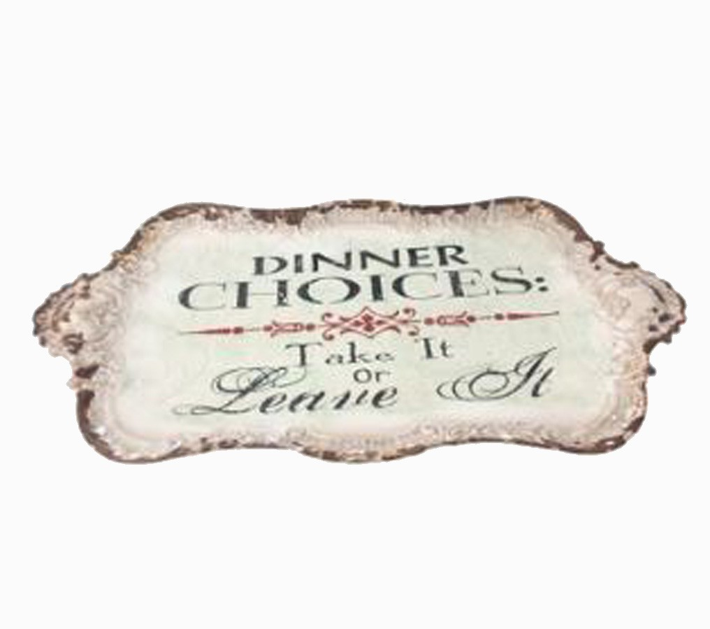 Bandeja Metal Branca Dinner Choices Oldway 27x46x2cm  - Arrivo Mobile