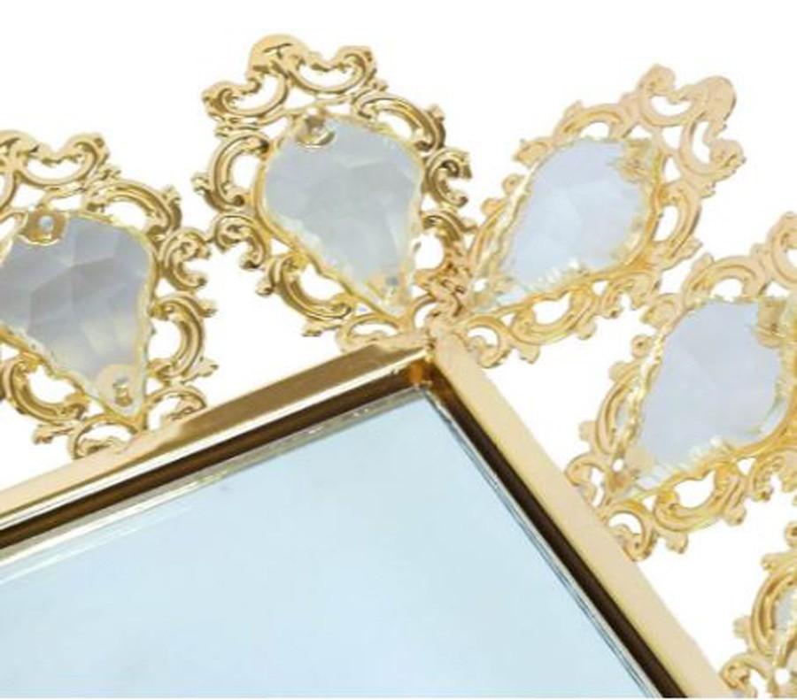 Bandeja Quadrada Dourada Cristal K9 50x6cm  - Arrivo Mobile