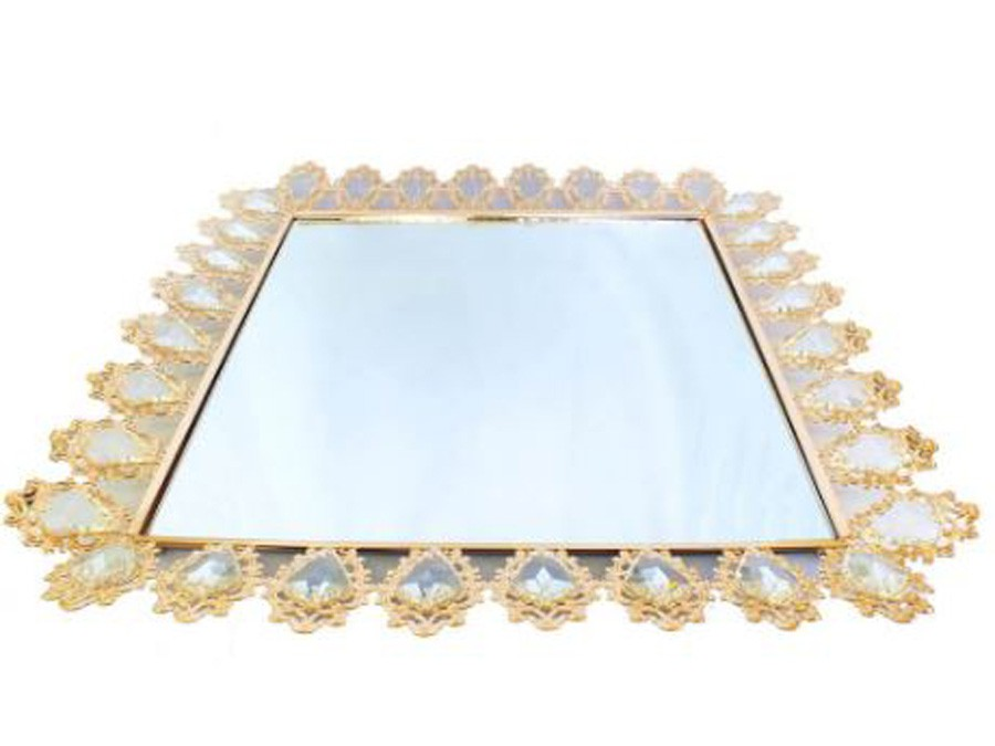 Bandeja Quadrada Dourada Cristal K9 55,5x6cm  - Arrivo Mobile